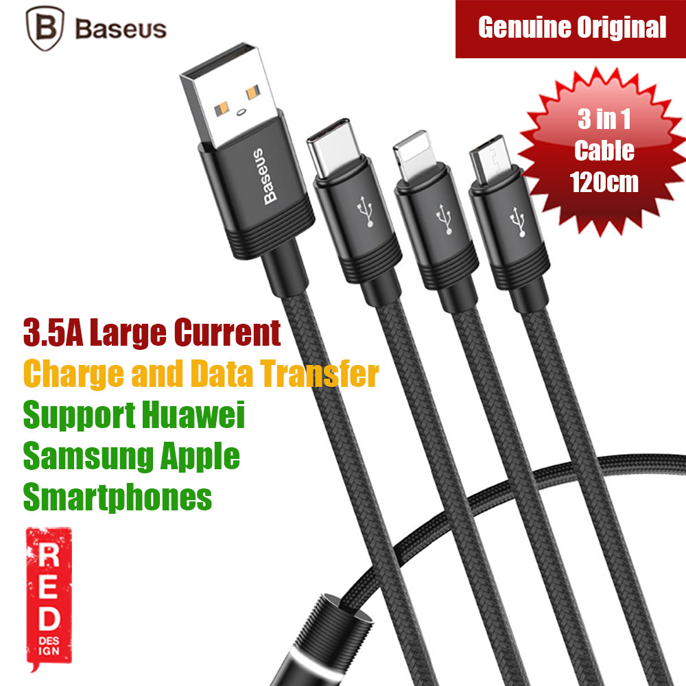 Picture of Baseus Data Faction 3 in 1 Cable Lightning Type C Micro USB (Black) Red Design- Red Design Cases, Red Design Covers, iPad Cases and a wide selection of Red Design Accessories in Malaysia, Sabah, Sarawak and Singapore