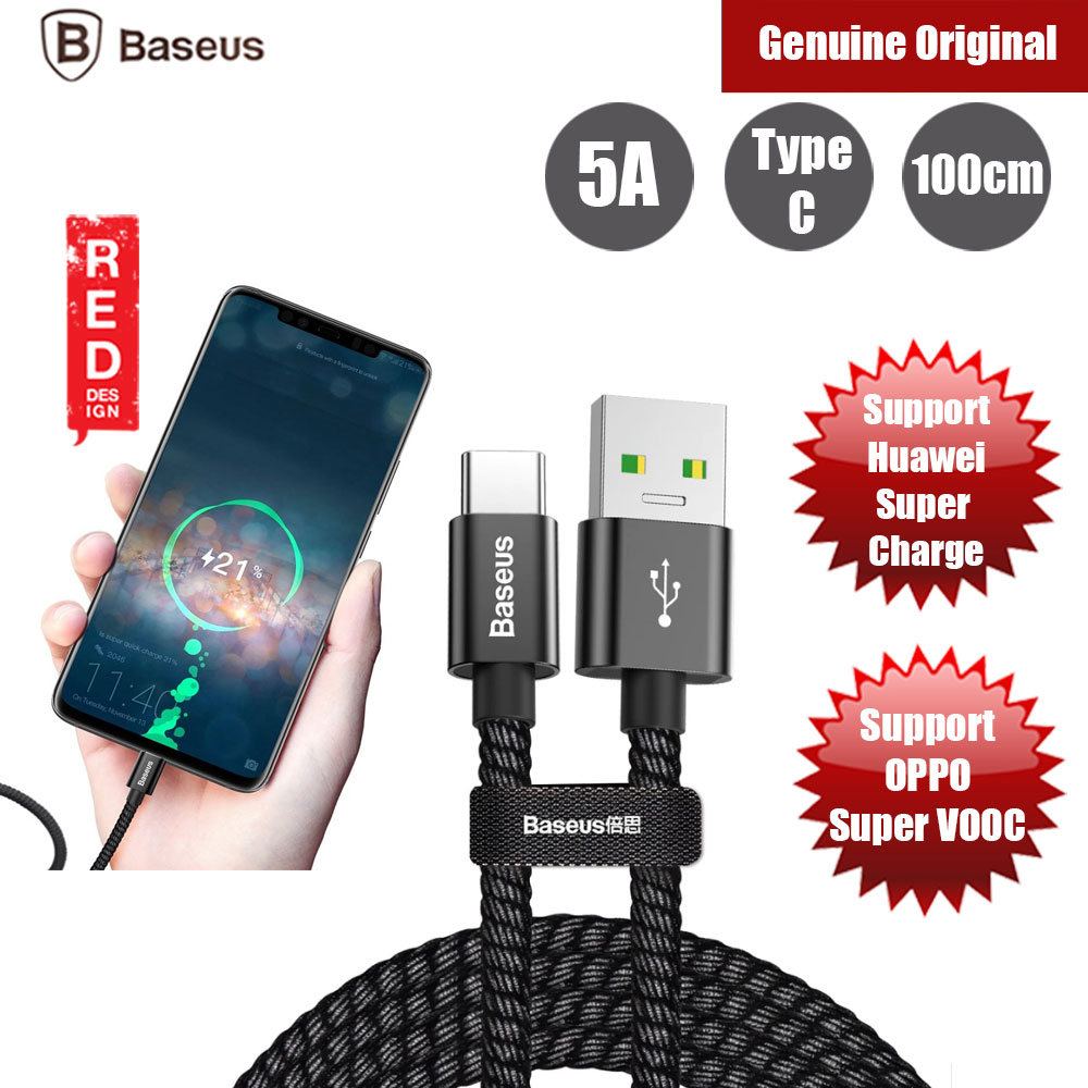 Picture of Baseus Double Fast Charging Series Type C 5A Cable support Huawei Super Charge (Black) Red Design- Red Design Cases, Red Design Covers, iPad Cases and a wide selection of Red Design Accessories in Malaysia, Sabah, Sarawak and Singapore