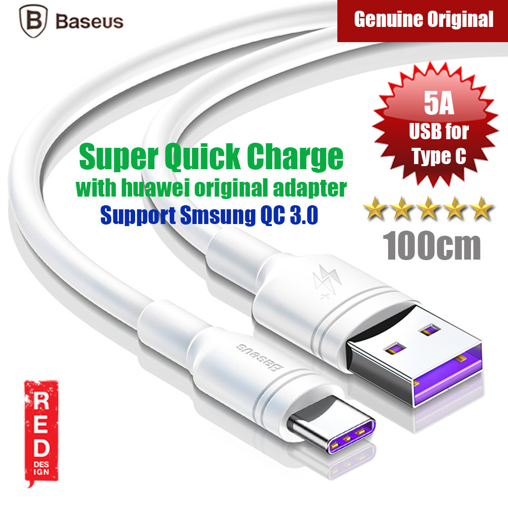 Picture of Baseus Double Ring Quick Charge Type C Cable 5A Flash Charging (White) Red Design- Red Design Cases, Red Design Covers, iPad Cases and a wide selection of Red Design Accessories in Malaysia, Sabah, Sarawak and Singapore