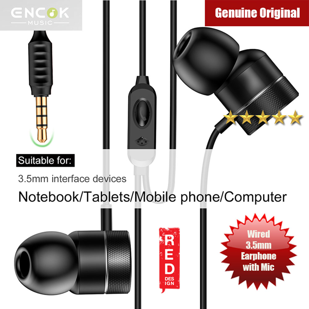 Picture of Baseus Encok H04 Bass Sound Earphone In Ear Sport Earphones with mic for xiaomi iPhone Samsung Headset Laptop Computer Table 3.5mm Interface (Black) Red Design- Red Design Cases, Red Design Covers, iPad Cases and a wide selection of Red Design Accessories in Malaysia, Sabah, Sarawak and Singapore