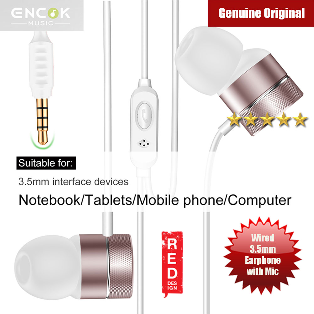 Picture of Baseus Encok H04 Bass Sound Earphone In Ear Sport Earphones with mic for xiaomi iPhone Samsung Headset Laptop Computer Table 3.5mm Interface (Rose Gold) Red Design- Red Design Cases, Red Design Covers, iPad Cases and a wide selection of Red Design Accessories in Malaysia, Sabah, Sarawak and Singapore