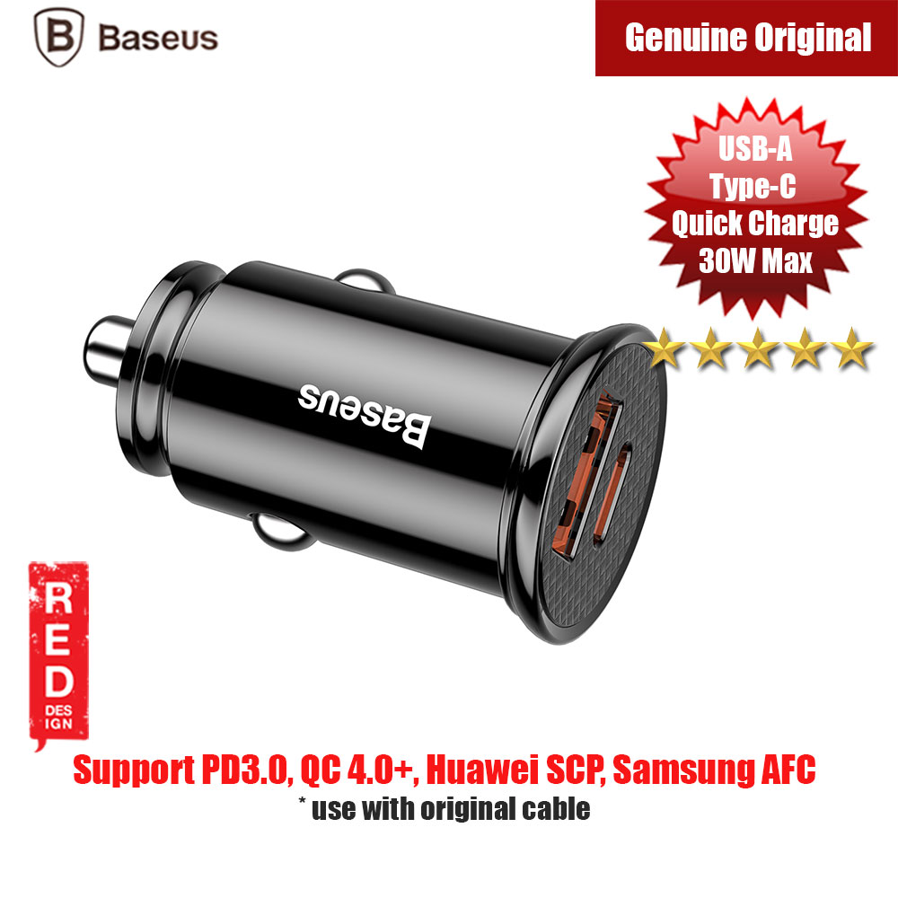 Picture of Baseus Small  USB A Type C 30W Max Quick Charge Car Charger (Black) Red Design- Red Design Cases, Red Design Covers, iPad Cases and a wide selection of Red Design Accessories in Malaysia, Sabah, Sarawak and Singapore