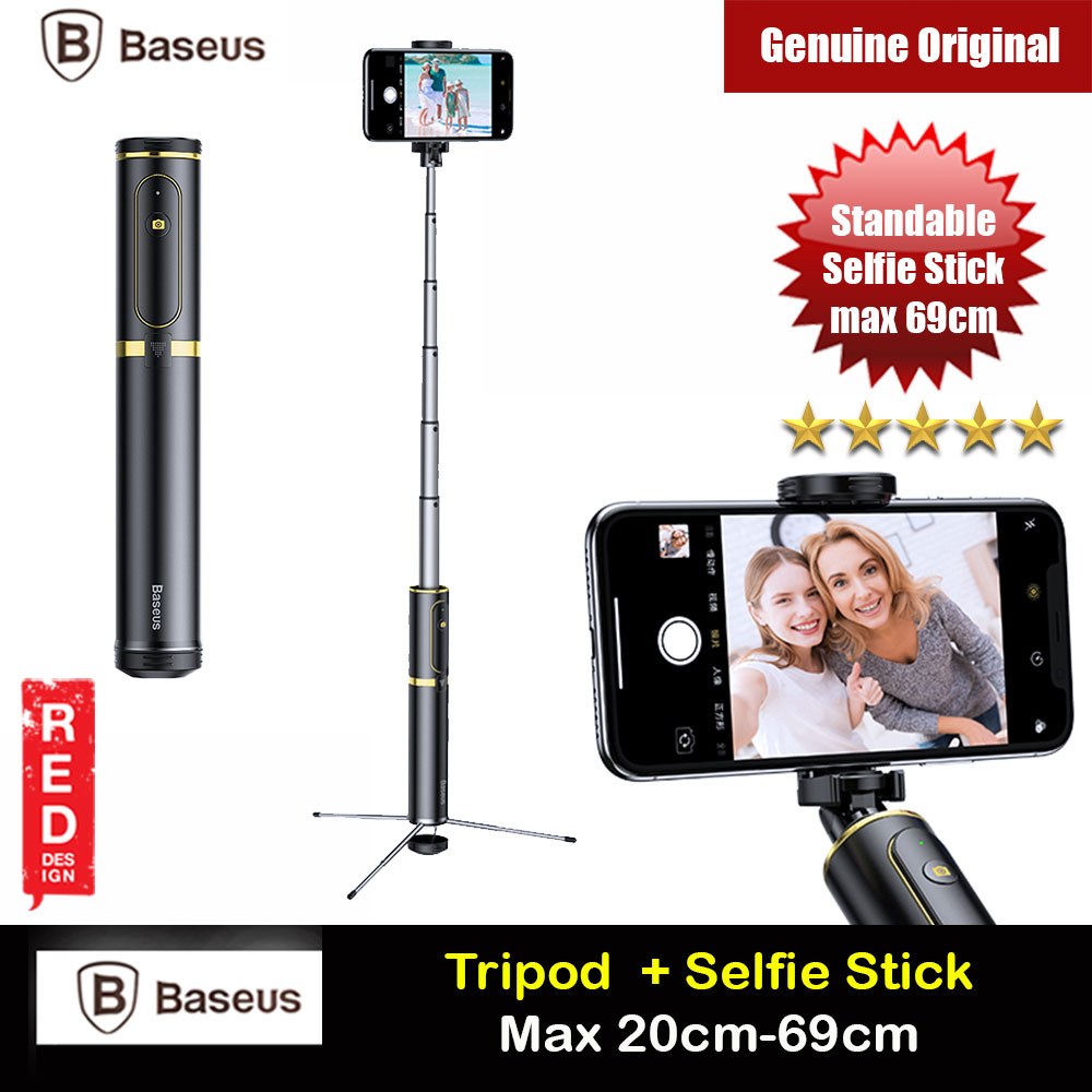 Picture of Baseus Fully Folding Portable Small and Lightweight Standable Selfie Stick Tripod for Mobile Phone with Bluetooth Remote Control for Mobile Phone Less Than 6.5 inches iPhone 11 Pro iPhone 8 iPhone XS Max (Gold) Red Design- Red Design Cases, Red Design Covers, iPad Cases and a wide selection of Red Design Accessories in Malaysia, Sabah, Sarawak and Singapore
