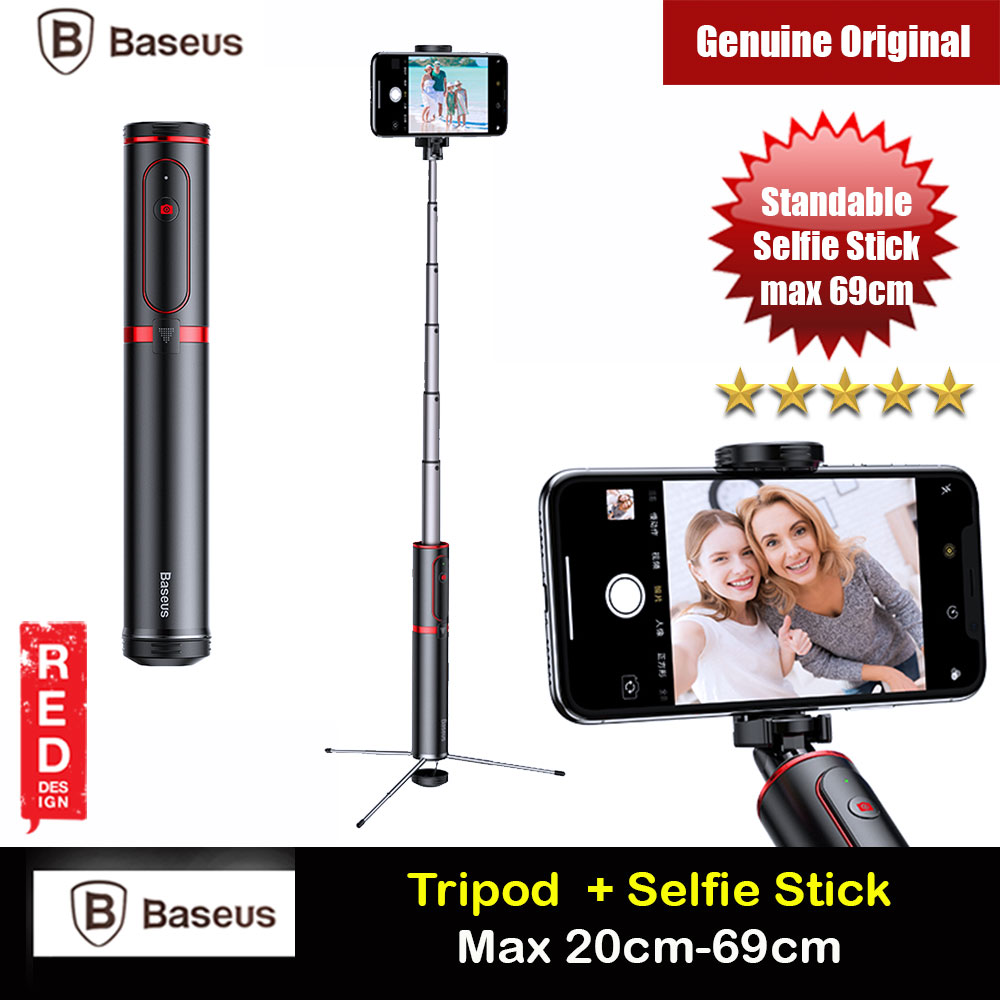 Picture of Baseus Fully Folding Portable Small and Lightweight Standable Selfie Stick Tripod for Mobile Phone with Bluetooth Remote Control for Mobile Phone Less Than 6.5 inches iPhone 11 Pro iPhone 8 iPhone XS Max (Red) Red Design- Red Design Cases, Red Design Covers, iPad Cases and a wide selection of Red Design Accessories in Malaysia, Sabah, Sarawak and Singapore