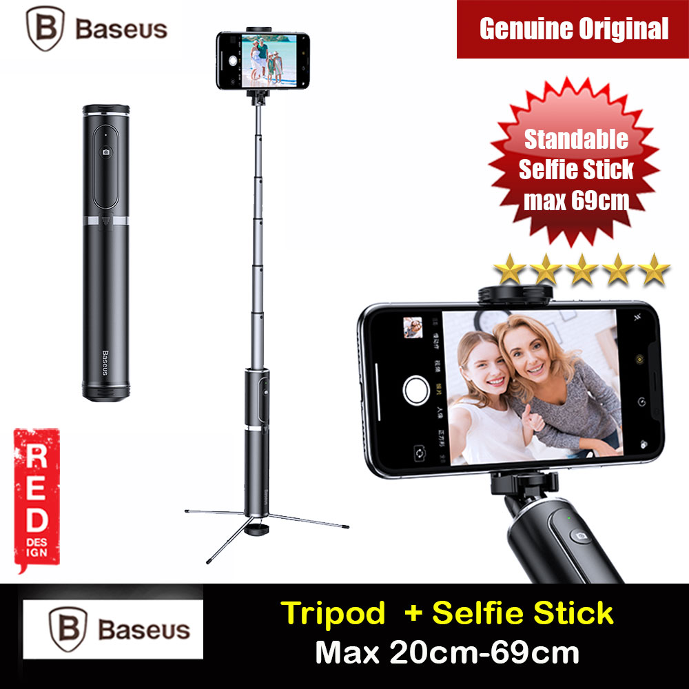 Picture of Baseus Fully Folding Portable Small and Lightweight Standable Selfie Stick Tripod for Mobile Phone with Bluetooth Remote Control for Mobile Phone Less Than 6.5 inches iPhone 11 Pro iPhone 8 iPhone XS Max (Silver) Red Design- Red Design Cases, Red Design Covers, iPad Cases and a wide selection of Red Design Accessories in Malaysia, Sabah, Sarawak and Singapore