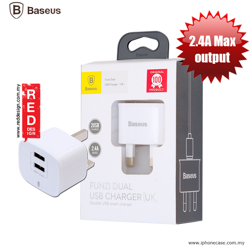 Picture of Baseus Funzi Dual USB Smart Charger (UK) 2.4A max output Red Design- Red Design Cases, Red Design Covers, iPad Cases and a wide selection of Red Design Accessories in Malaysia, Sabah, Sarawak and Singapore