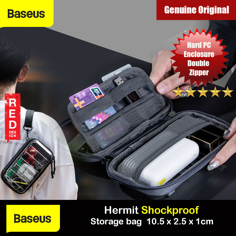 Picture of Baseus Hermit Shockproof Storage Bag Gadget Organizer Multifunctional Storage Bag Travel Organizer Zipped Bag with Lanyard Strap (Transparent) Red Design- Red Design Cases, Red Design Covers, iPad Cases and a wide selection of Red Design Accessories in Malaysia, Sabah, Sarawak and Singapore
