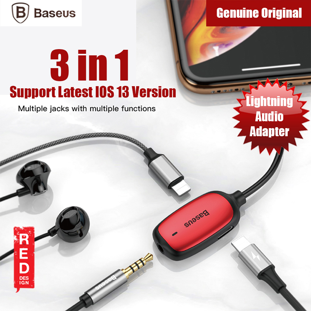 Picture of Baseus Audio Converter Ligntning MALE to 3.5mm and Dual Ligntning FEMALE Audio and Charging Adapter Gaming Listenning while charging for iPhone 8 iPhone XS Max iPhone 11 Pro Max (Red) Red Design- Red Design Cases, Red Design Covers, iPad Cases and a wide selection of Red Design Accessories in Malaysia, Sabah, Sarawak and Singapore