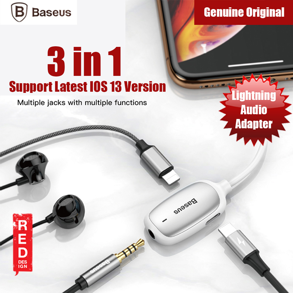 Picture of Baseus Audio Converter Ligntning MALE to 3.5mm and Dual Ligntning FEMALE Audio and Charging Adapter Gaming Listenning while charging for iPhone 8 iPhone XS Max iPhone 11 Pro Max (White) Red Design- Red Design Cases, Red Design Covers, iPad Cases and a wide selection of Red Design Accessories in Malaysia, Sabah, Sarawak and Singapore