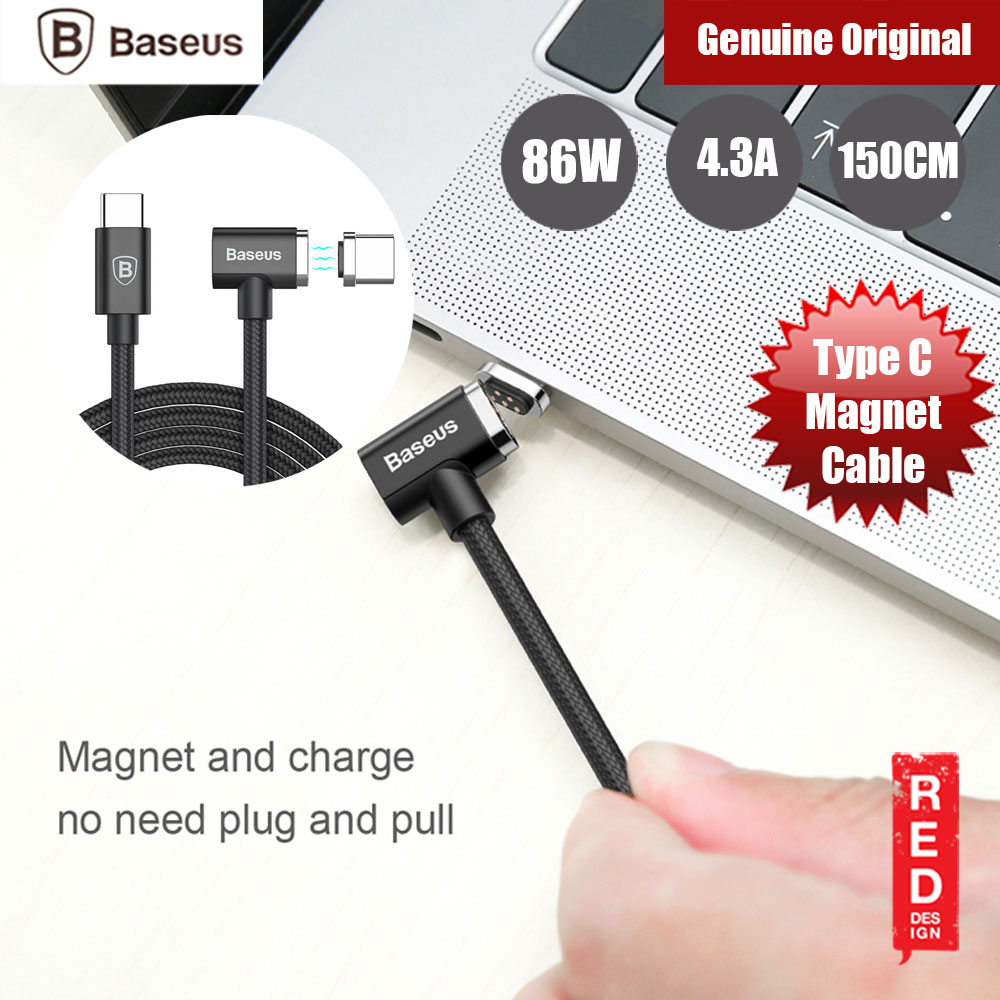 Picture of Baseus Type C 86W 4.3A Fast Charge Magnet Cable for MacBook Huawei Type C Devices (Black) Red Design- Red Design Cases, Red Design Covers, iPad Cases and a wide selection of Red Design Accessories in Malaysia, Sabah, Sarawak and Singapore