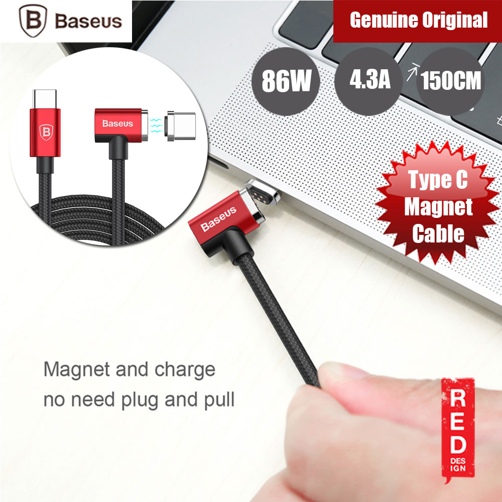 Picture of Baseus Type C 86W 4.3A Fast Charge Magnet Cable for MacBook Huawei Type C Devices (Red) Red Design- Red Design Cases, Red Design Covers, iPad Cases and a wide selection of Red Design Accessories in Malaysia, Sabah, Sarawak and Singapore