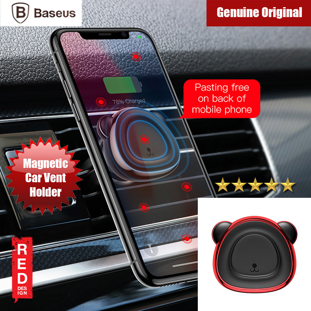 Picture of Baseus Little Bear Series Strong Magnetic Air Con Vent Suction Bracket Car Mount (Red) Red Design- Red Design Cases, Red Design Covers, iPad Cases and a wide selection of Red Design Accessories in Malaysia, Sabah, Sarawak and Singapore