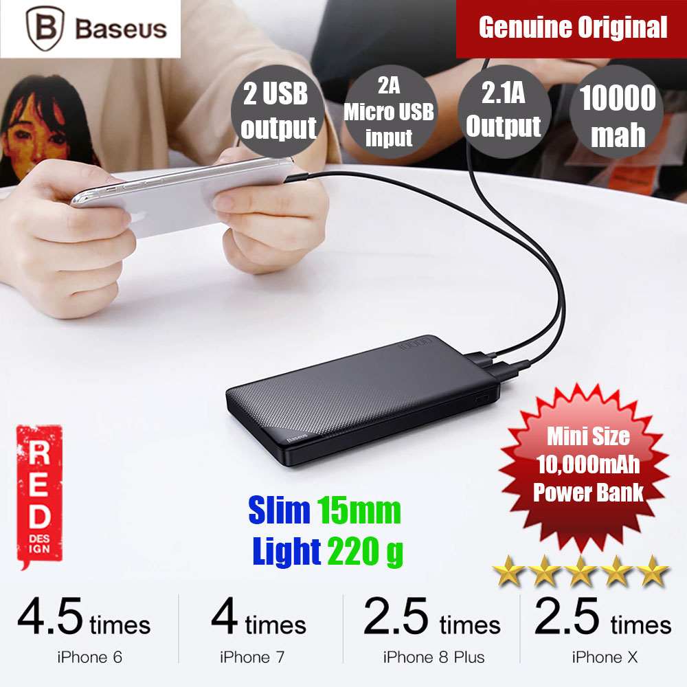 Picture of Baseus Mini CU 2 USB Output 2.1A 10000mAh Fast Charge Power Bank (Black) Red Design- Red Design Cases, Red Design Covers, iPad Cases and a wide selection of Red Design Accessories in Malaysia, Sabah, Sarawak and Singapore