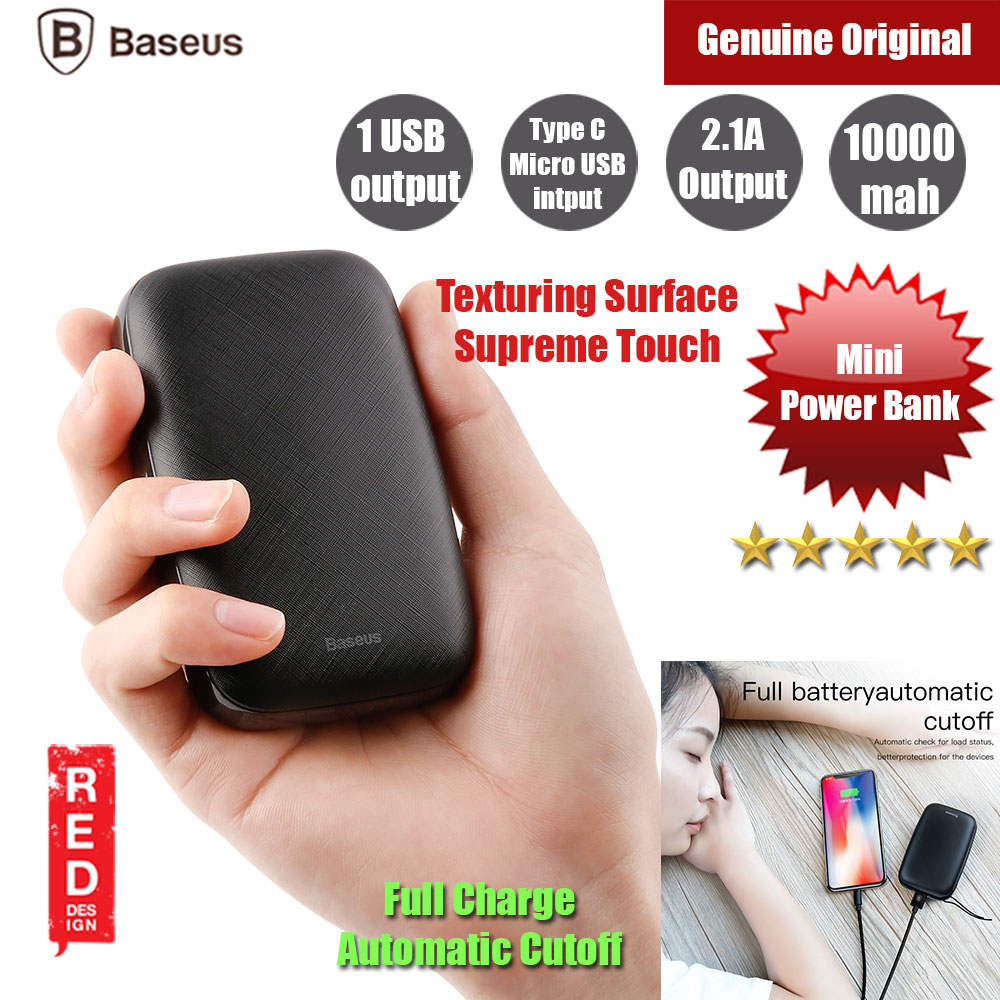Picture of Baseus Mini Q USB Output 2.1A 10000mAh Fast Charge Power Bank (Black) Red Design- Red Design Cases, Red Design Covers, iPad Cases and a wide selection of Red Design Accessories in Malaysia, Sabah, Sarawak and Singapore