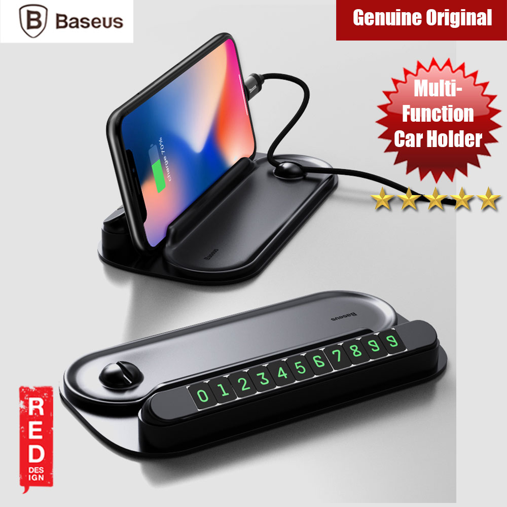 Picture of Baseus Multipurpose Car Holder with Parking Contact Number Plate (Black) Red Design- Red Design Cases, Red Design Covers, iPad Cases and a wide selection of Red Design Accessories in Malaysia, Sabah, Sarawak and Singapore