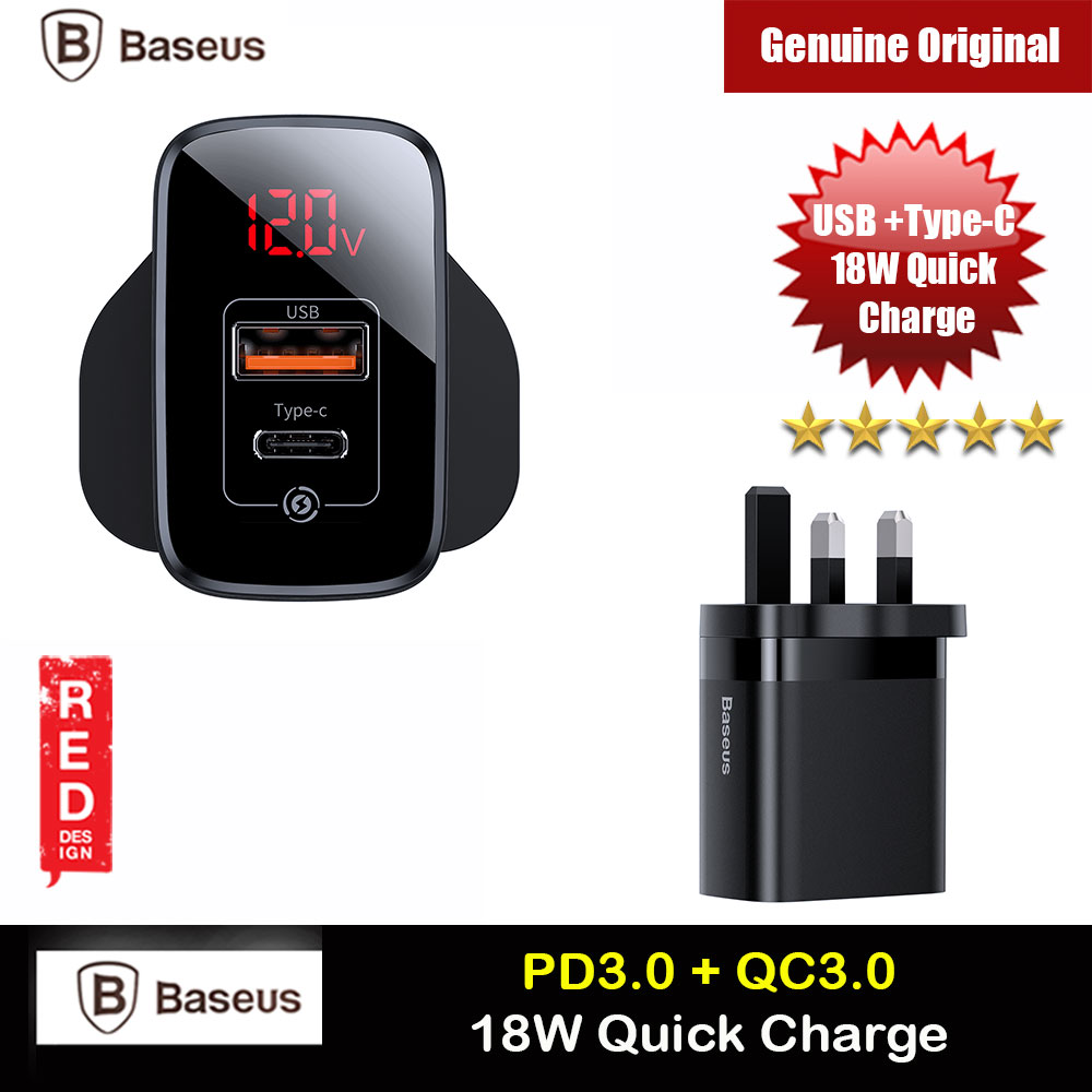 Picture of Baseus PPS Quick Charge PD18W Quick Charger Protocol Charger for Apple Samsung Huawei Mi USB TYPE C Ports Power Charger (Black) Red Design- Red Design Cases, Red Design Covers, iPad Cases and a wide selection of Red Design Accessories in Malaysia, Sabah, Sarawak and Singapore