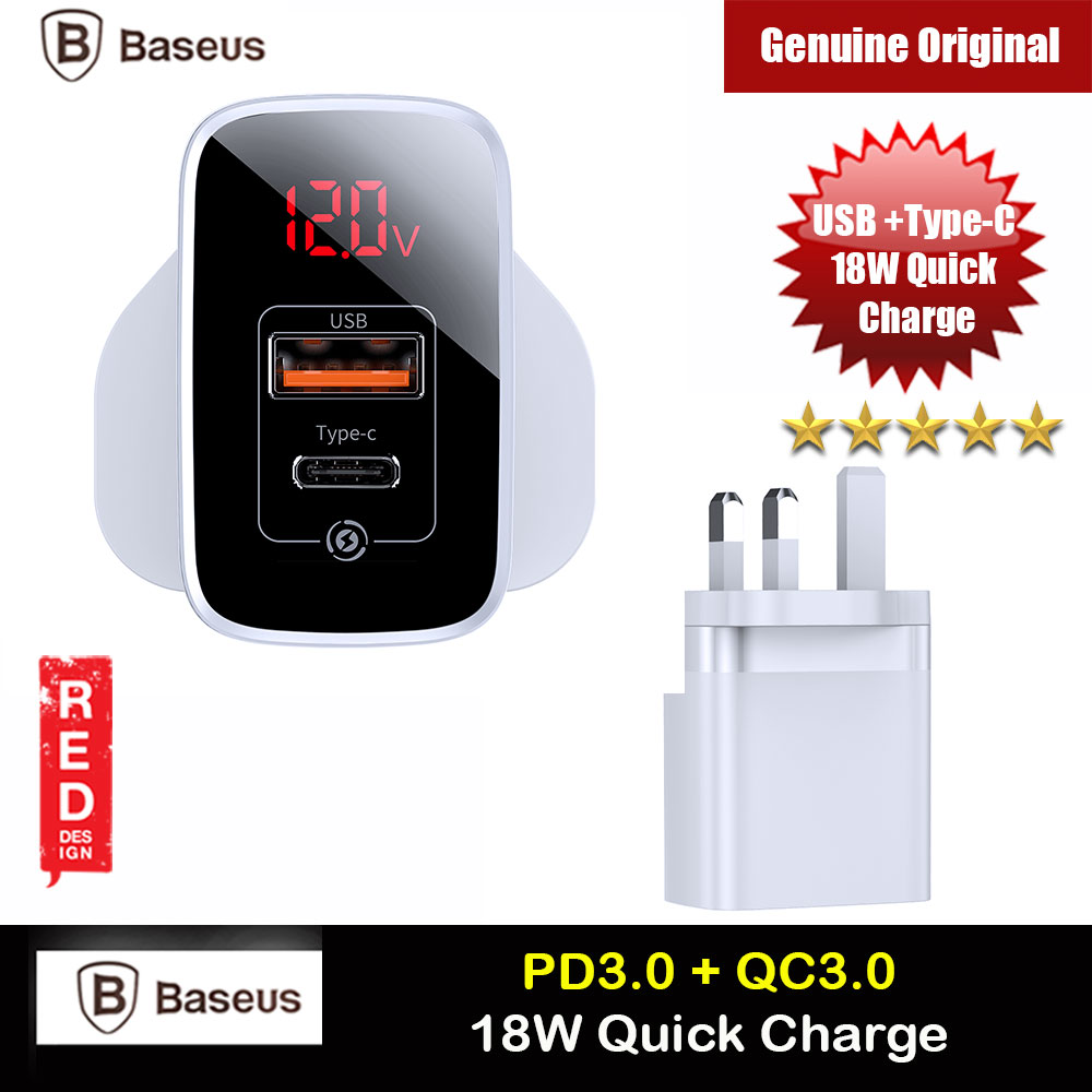 Picture of Baseus PPS Quick Charge PD18W Quick Charger Protocol Charger for Apple Samsung Huawei Mi USB TYPE C Ports Power Charger (White) Red Design- Red Design Cases, Red Design Covers, iPad Cases and a wide selection of Red Design Accessories in Malaysia, Sabah, Sarawak and Singapore