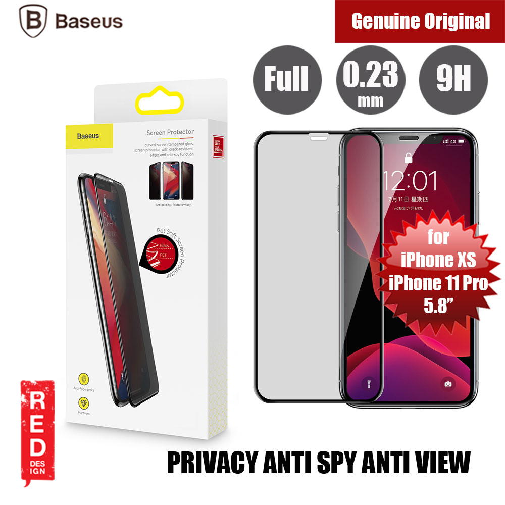 Picture of Baseus 3D Anti Peep View Spy Privacy Full Coverage Tempered Glass wit Anti Dust  for Apple iPhone XS iPhone X iPhone 11 Pro 5.8 (Anti Peep View Privacy Black) Apple iPhone 11 Pro 5.8- Apple iPhone 11 Pro 5.8 Cases, Apple iPhone 11 Pro 5.8 Covers, iPad Cases and a wide selection of Apple iPhone 11 Pro 5.8 Accessories in Malaysia, Sabah, Sarawak and Singapore