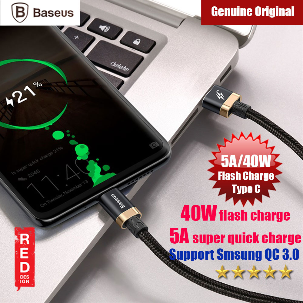 Picture of Baseus Flash Charge Quick Charge Type C Cable 5A 40W Flash Charging (Black Gold) Red Design- Red Design Cases, Red Design Covers, iPad Cases and a wide selection of Red Design Accessories in Malaysia, Sabah, Sarawak and Singapore