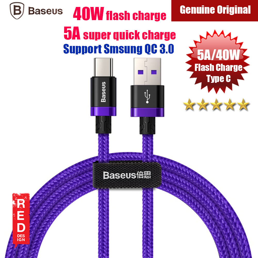 Picture of Baseus Flash Charge Quick Charge Type C Cable 5A 40W Flash Charging (Purple) Red Design- Red Design Cases, Red Design Covers, iPad Cases and a wide selection of Red Design Accessories in Malaysia, Sabah, Sarawak and Singapore