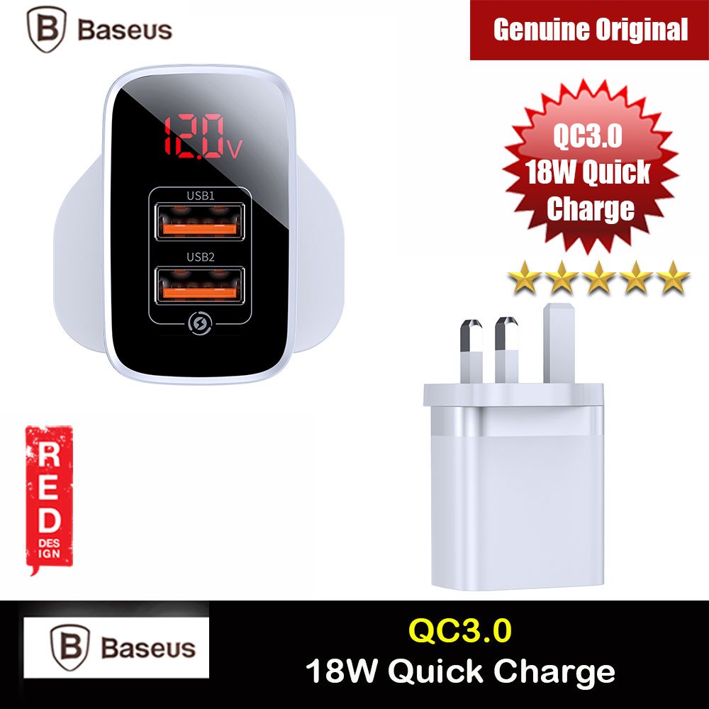 Picture of Baseus QC3.0 Quick Charge 18W Charger for Apple Samsung Huawei Mi (White) Red Design- Red Design Cases, Red Design Covers, iPad Cases and a wide selection of Red Design Accessories in Malaysia, Sabah, Sarawak and Singapore