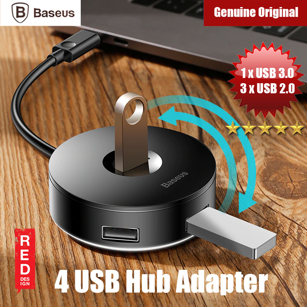 Picture of Baseus Round Box 4 USB Hub Adapter (Black) Red Design- Red Design Cases, Red Design Covers, iPad Cases and a wide selection of Red Design Accessories in Malaysia, Sabah, Sarawak and Singapore