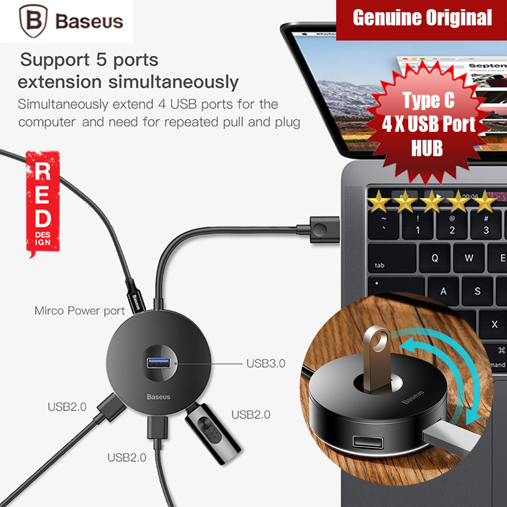 Picture of Baseus Round Box 4 USB Hub Adapter with Type C Wired input (Black) Red Design- Red Design Cases, Red Design Covers, iPad Cases and a wide selection of Red Design Accessories in Malaysia, Sabah, Sarawak and Singapore