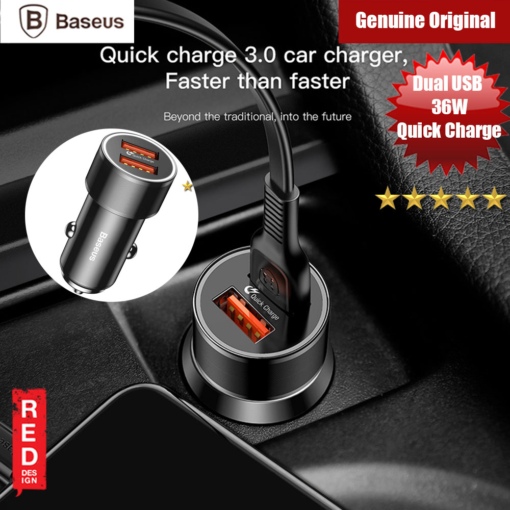 Picture of Baseus Small Screw Dual USB 36W Max Quick Charge Car Charger (Black) Red Design- Red Design Cases, Red Design Covers, iPad Cases and a wide selection of Red Design Accessories in Malaysia, Sabah, Sarawak and Singapore