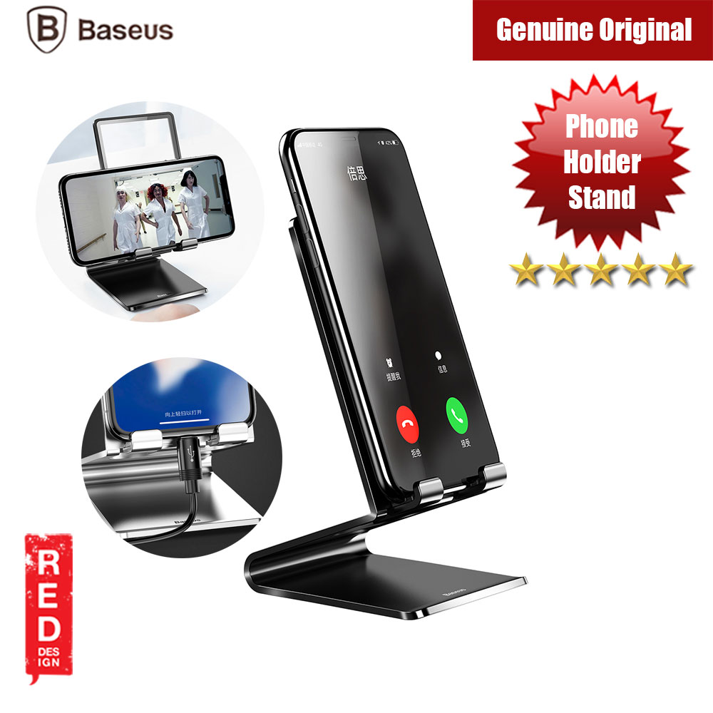 Picture of Baseus Mobile Smartphone Holder Metal Desk Stand (Black) Red Design- Red Design Cases, Red Design Covers, iPad Cases and a wide selection of Red Design Accessories in Malaysia, Sabah, Sarawak and Singapore
