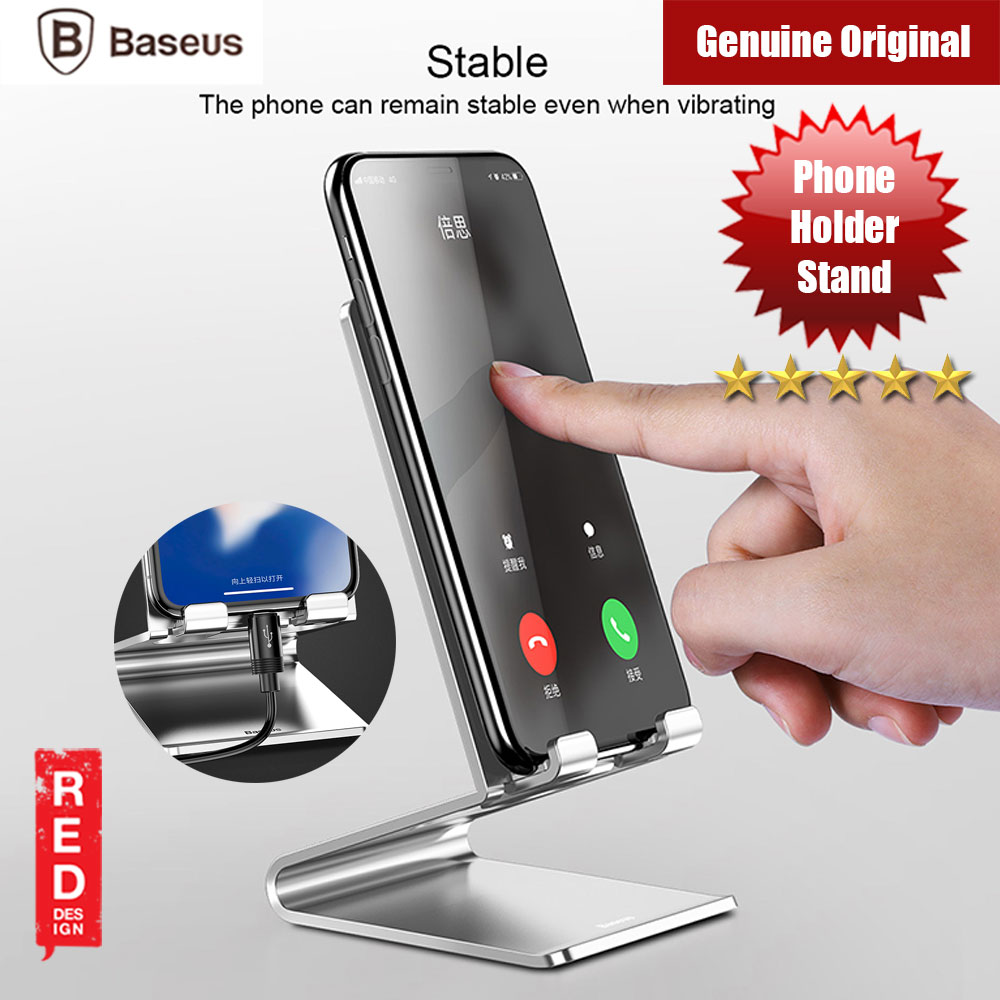Picture of Baseus Mobile Smartphone Holder Metal Desk Stand (Silver) Red Design- Red Design Cases, Red Design Covers, iPad Cases and a wide selection of Red Design Accessories in Malaysia, Sabah, Sarawak and Singapore