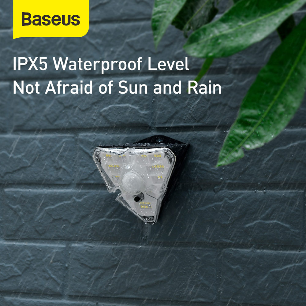 Picture of Baseus Solar Charging PIR Human Body Induction Motion Detect Auto On Off IPx5 Waterproof Outdoor Wall Lamp Light LED Light Door Way Light Courtyard Light Balcony Light Lamp