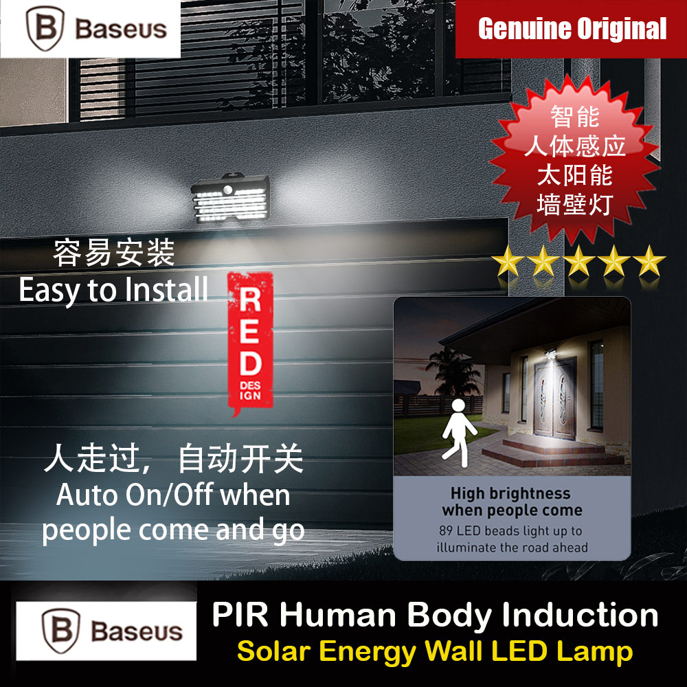 Picture of Baseus Large Solar Charging PIR Human Body Induction Motion Detect Auto On Off IP65 Waterproof Outdoor Wall Lamp Light LED Light Door Way Light Courtyard Light Balcony Light Lamp Wide Angle Red Design- Red Design Cases, Red Design Covers, iPad Cases and a wide selection of Red Design Accessories in Malaysia, Sabah, Sarawak and Singapore