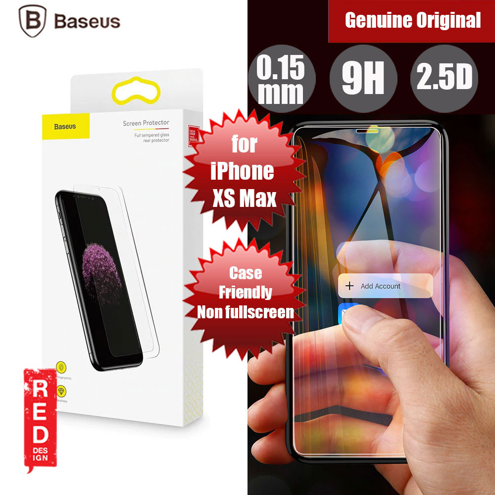 Picture of Baseus Case Friendly Tempered Glass for Apple iPhone XS Max (0.15mm Clear) Apple iPhone XS Max- Apple iPhone XS Max Cases, Apple iPhone XS Max Covers, iPad Cases and a wide selection of Apple iPhone XS Max Accessories in Malaysia, Sabah, Sarawak and Singapore