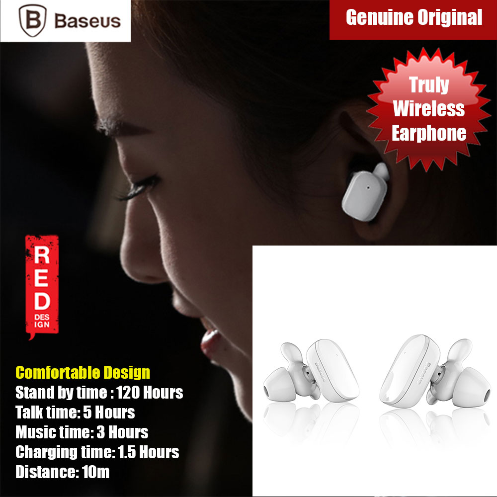 Picture of Baseus TWS True Wireless Bluetooth Earbuds Earphone (White) Red Design- Red Design Cases, Red Design Covers, iPad Cases and a wide selection of Red Design Accessories in Malaysia, Sabah, Sarawak and Singapore