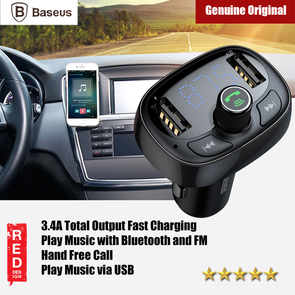 Picture of Baseus Bluetooth FM MP3 Player Car Voltage Monitor Car Charger (Black) Red Design- Red Design Cases, Red Design Covers, iPad Cases and a wide selection of Red Design Accessories in Malaysia, Sabah, Sarawak and Singapore