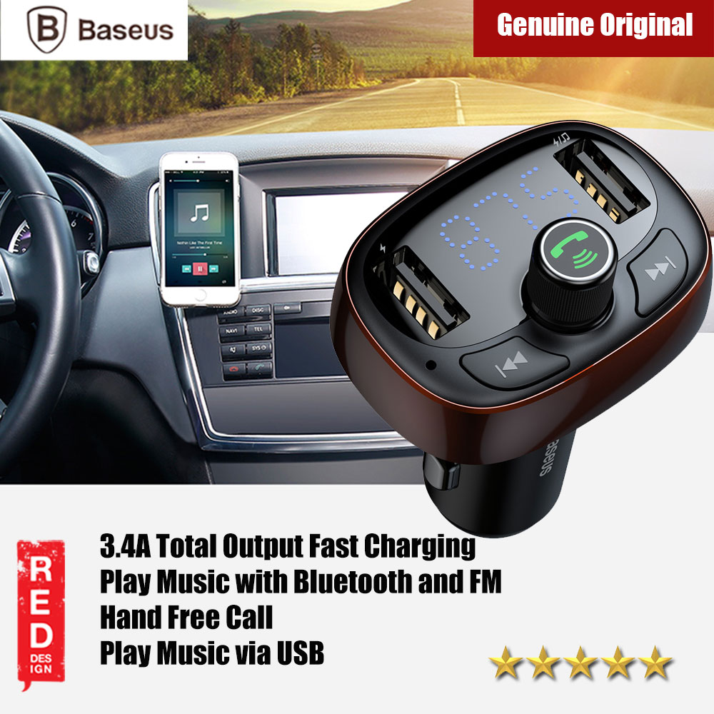 Picture of Baseus Bluetooth FM MP3 Player Car Voltage Monitor Car Charger (Coffee) Red Design- Red Design Cases, Red Design Covers, iPad Cases and a wide selection of Red Design Accessories in Malaysia, Sabah, Sarawak and Singapore