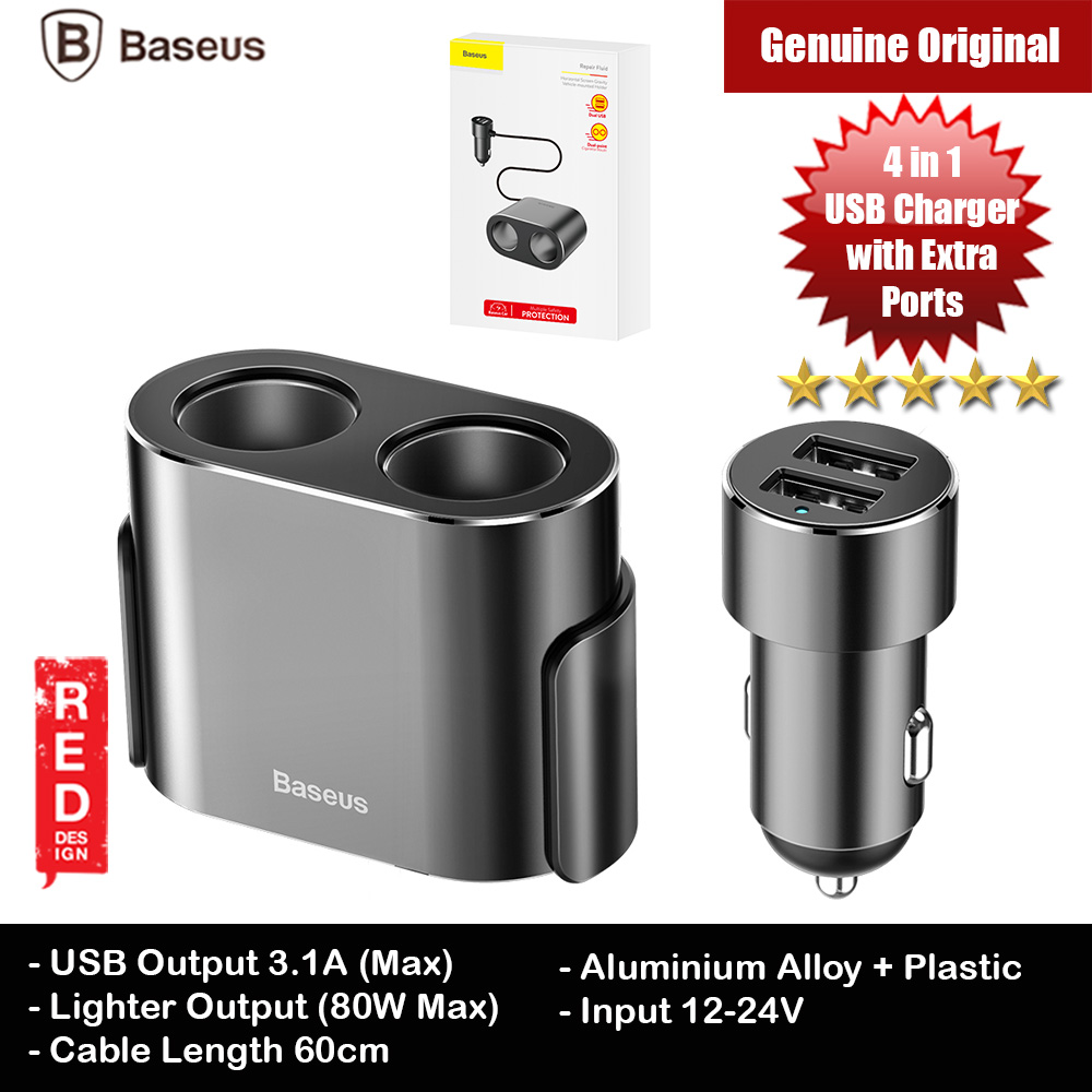 Picture of Baseus 2 USB Dual USB Car Charge with 2 point dual point cigarette mouth port output 12-24V input Car Video Recorder Extra Cigarette Port (Black) Red Design- Red Design Cases, Red Design Covers, iPad Cases and a wide selection of Red Design Accessories in Malaysia, Sabah, Sarawak and Singapore