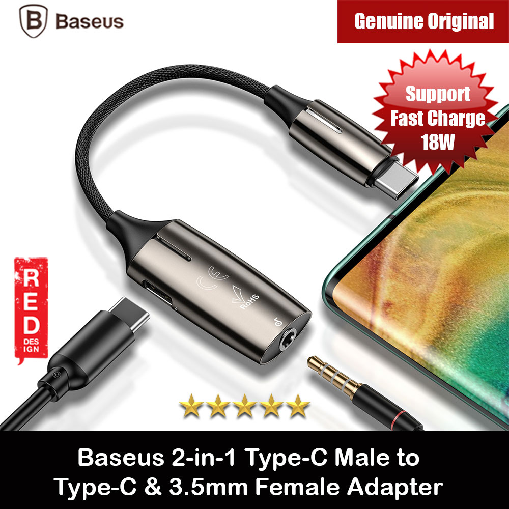 Picture of Baseus 2 in 1 Type-C Male to Type-C and 3.5mm Female Audio Fast Charge Adapter for Xiaomi Huawei Google Galaxy Note 10 Plus S20 Plus Ultra iPad Pro Red Design- Red Design Cases, Red Design Covers, iPad Cases and a wide selection of Red Design Accessories in Malaysia, Sabah, Sarawak and Singapore