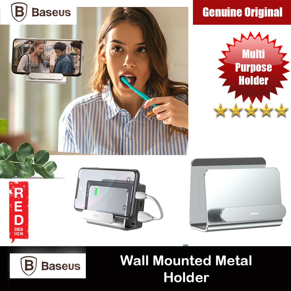 Picture of Baseus Multipurpose 3M Wall Mounted Aluminum Phone Holder for Smartphone iPhone 11 Pro Max Note 10 Plus Huawei P40 Pro (Silver) Red Design- Red Design Cases, Red Design Covers, iPad Cases and a wide selection of Red Design Accessories in Malaysia, Sabah, Sarawak and Singapore