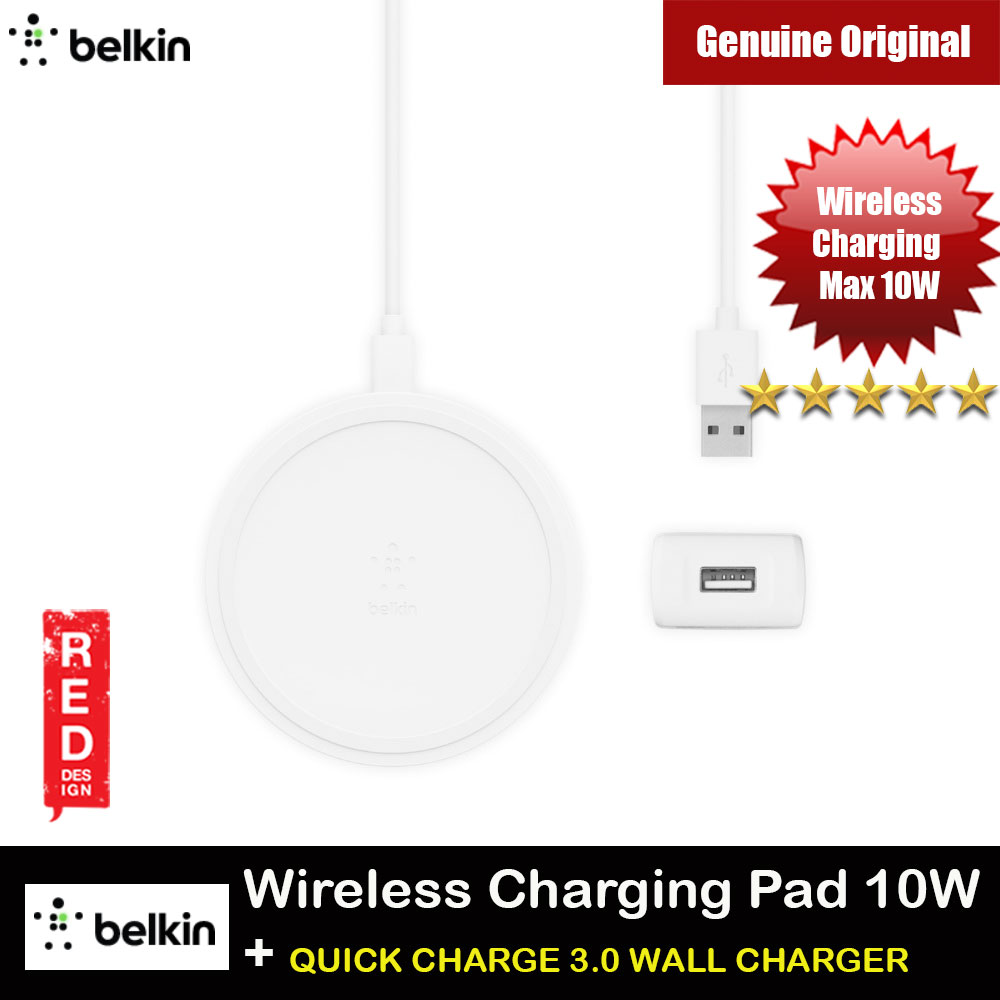 Picture of Belkin BOOST UP Wireless Charging Pad 10W  with QUICK CHARGE 3.0 WALL CHARGER for Apple Samsung iPhone 11 Pro Max (White) Red Design- Red Design Cases, Red Design Covers, iPad Cases and a wide selection of Red Design Accessories in Malaysia, Sabah, Sarawak and Singapore