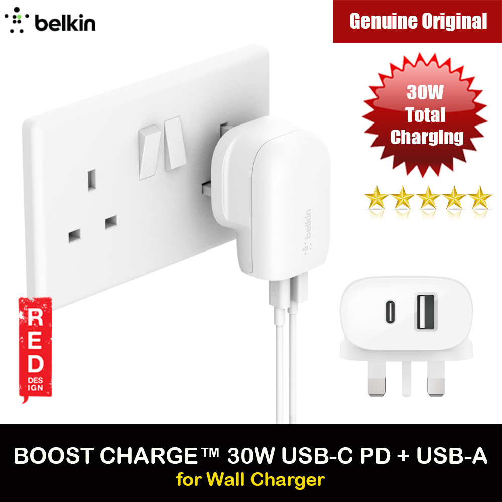Picture of Belkin Boost Up 30W USB-C PD + USB-A Wall Charger for iPhone 12 Pro Max iPhone 11 Pro Max (White) Red Design- Red Design Cases, Red Design Covers, iPad Cases and a wide selection of Red Design Accessories in Malaysia, Sabah, Sarawak and Singapore