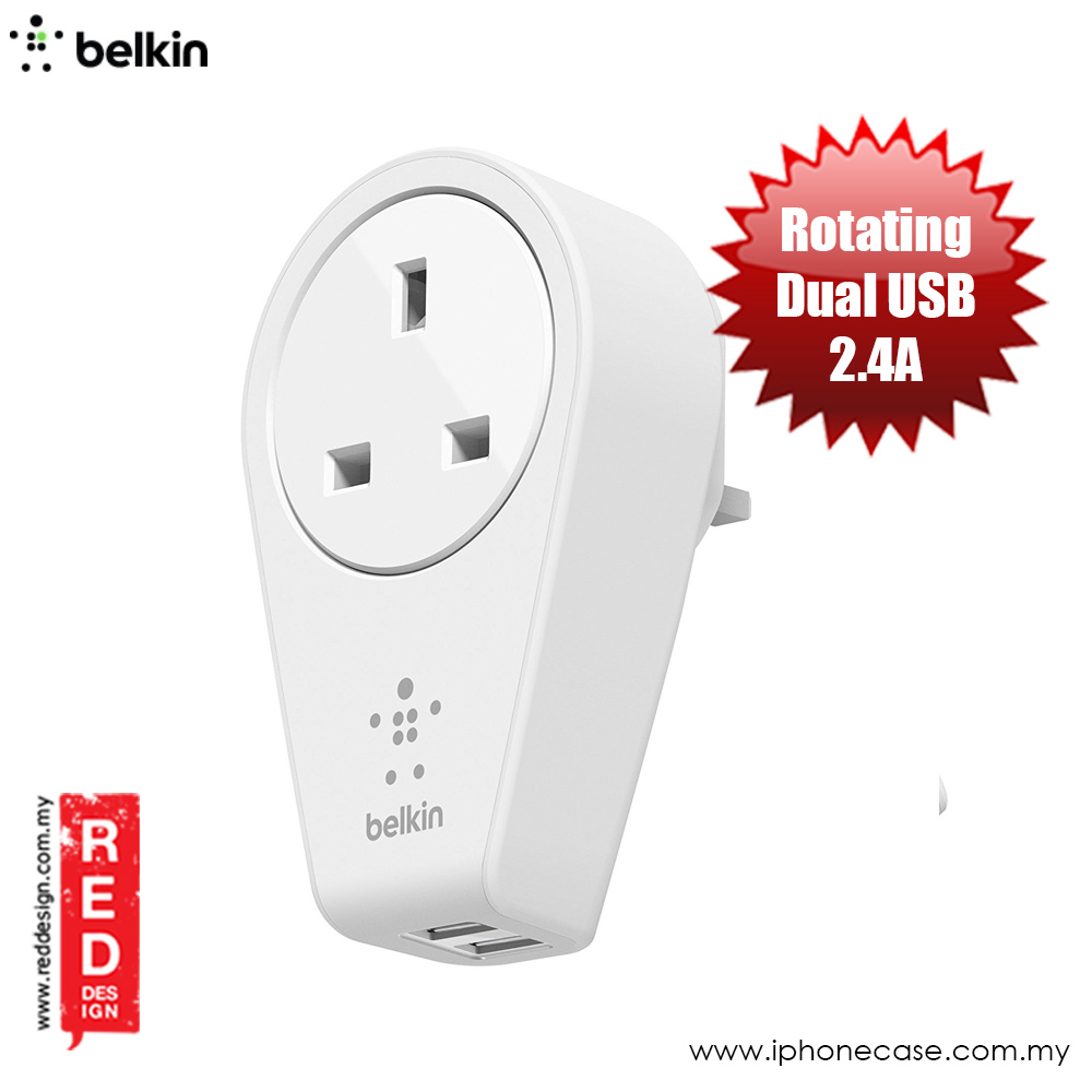 Picture of Belkin Boost Up Rotatable 2 USB Port Swivel Charger and Outlet (White)