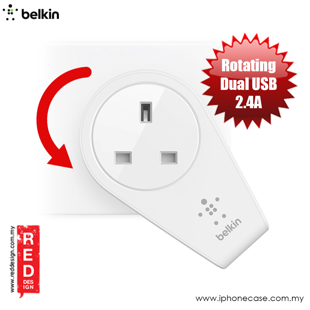 Picture of Belkin Boost Up Rotatable 2 USB Port Swivel Charger and Outlet (White) Red Design- Red Design Cases, Red Design Covers, iPad Cases and a wide selection of Red Design Accessories in Malaysia, Sabah, Sarawak and Singapore