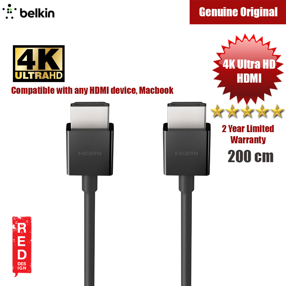 Picture of Belkin Premium HDMI Cable Certification guarantees HDMI Cable HDMI 2.0 with support UltraHD for All HDMI Devices  Macbook 200cm Red Design- Red Design Cases, Red Design Covers, iPad Cases and a wide selection of Red Design Accessories in Malaysia, Sabah, Sarawak and Singapore