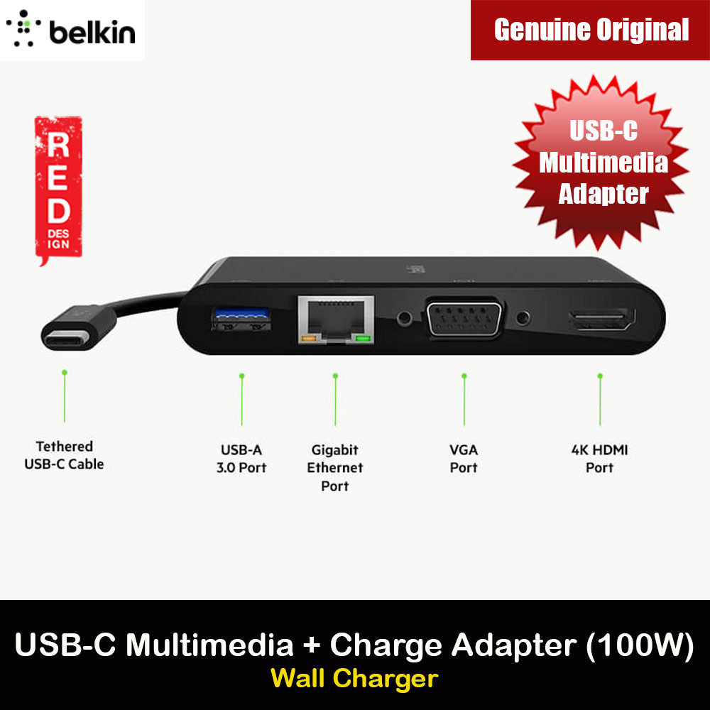 Picture of Belkin USB-C Multimedia and Charge Adapter 100W Passthrough Power supports Gigabit Ethernet USB-A 3.0 VGA 4K HDMI and data transfer through USB-C Power Delivery for Macbook Window Laptop Red Design- Red Design Cases, Red Design Covers, iPad Cases and a wide selection of Red Design Accessories in Malaysia, Sabah, Sarawak and Singapore