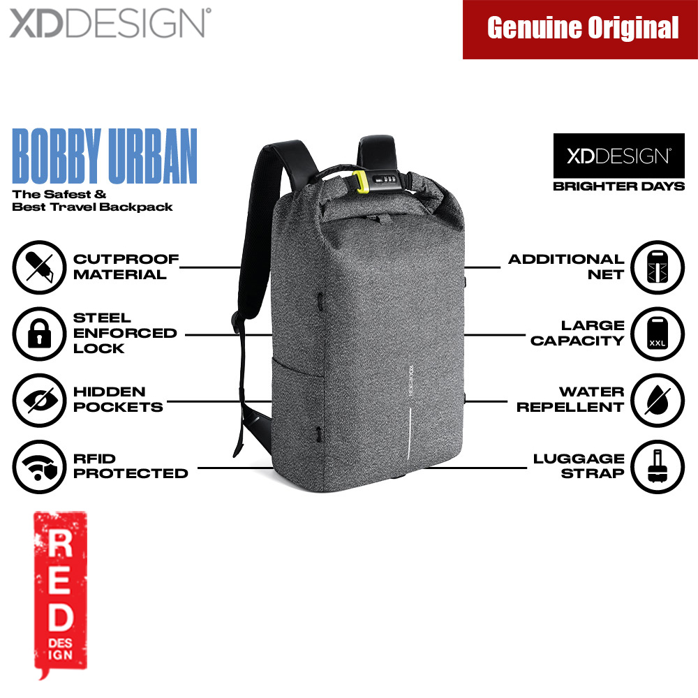Picture of XD Design Bobby Urban Anti Theft Cut Proof Backpack (Grey) Red Design- Red Design Cases, Red Design Covers, iPad Cases and a wide selection of Red Design Accessories in Malaysia, Sabah, Sarawak and Singapore