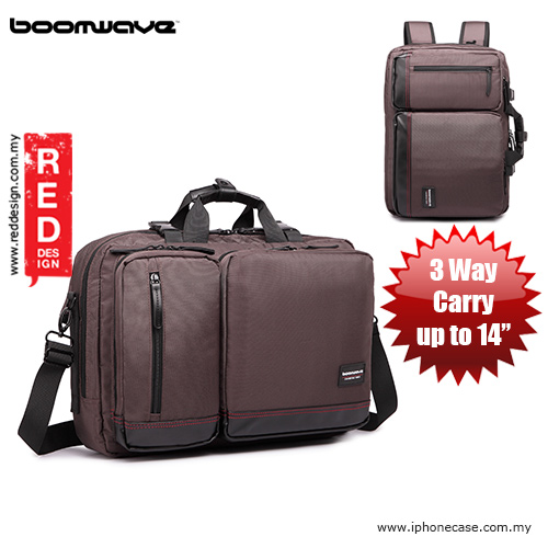 "Picture of Boomwave 3 Way Carry Convertible Series Business 14"" Laptop Bag - CS003 Brown Red Design- Red Design Cases, Red Design Covers, iPad Cases and a wide selection of Red Design Accessories in Malaysia, Sabah, Sarawak and Singapore"
