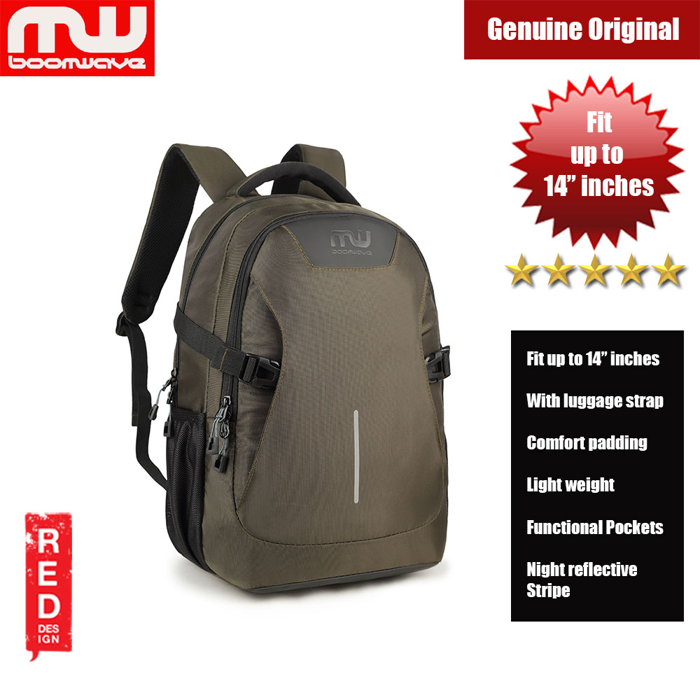 """Picture of Boomwave Colour with Luggage Strap Lightweight Backpack for up to 14"""" inches Laptop (Green) Red Design- Red Design Cases, Red Design Covers, iPad Cases and a wide selection of Red Design Accessories in Malaysia, Sabah, Sarawak and Singapore"""