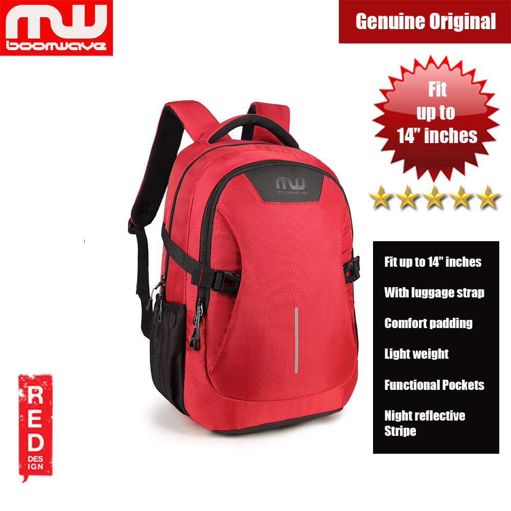 "Picture of Boomwave Colour with Luggage Strap Lightweight Backpack for up to 14"" inches Laptop (Red) Red Design- Red Design Cases, Red Design Covers, iPad Cases and a wide selection of Red Design Accessories in Malaysia, Sabah, Sarawak and Singapore"