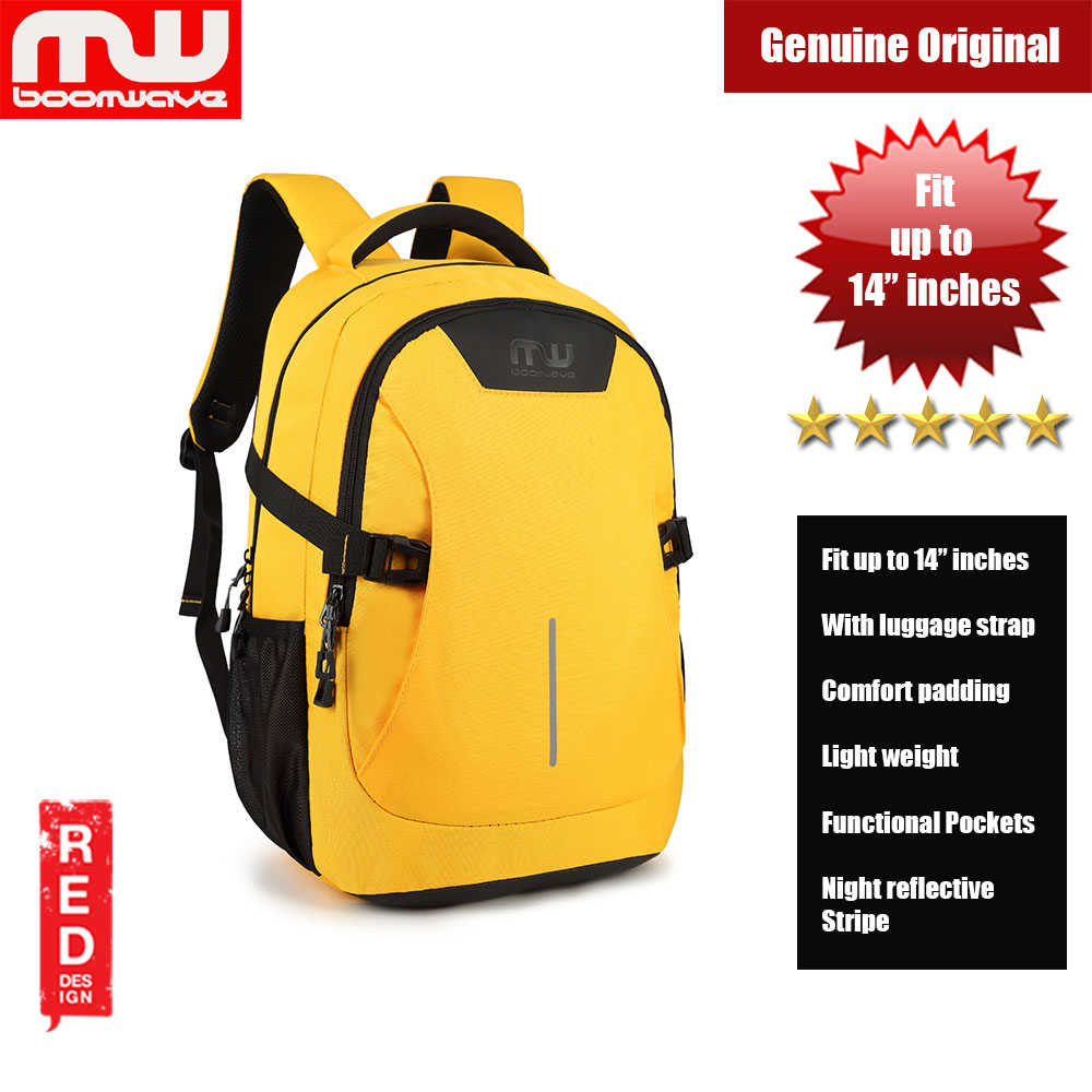 "Picture of Boomwave Colour with Luggage Strap Lightweight Backpack for up to 14"" inches Laptop (Yellow) Red Design- Red Design Cases, Red Design Covers, iPad Cases and a wide selection of Red Design Accessories in Malaysia, Sabah, Sarawak and Singapore"